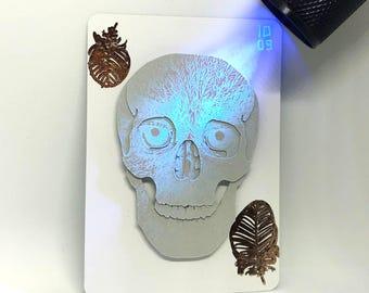 Original Inktober 'Screech' Cut Paper Skull UV Ink Artist's Trading Card