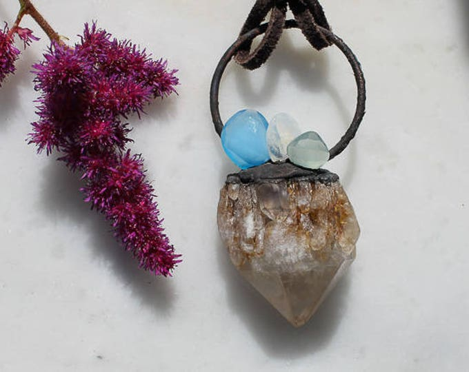 Candle Quartz, Moonstone and Chalcedony electroformed necklace