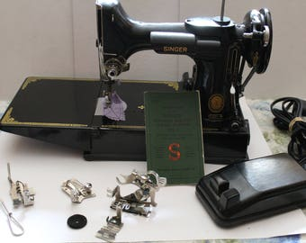 SINGER  Featherweight 221-1 Sewing Machine with  Book & Accessories -Vintage 1953