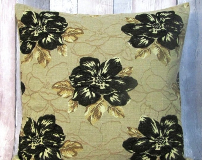 """Xmas Floral Cushion Cover, Upholstery Cushion Cover,Beige/Black Cushion, Living Room, Home Decor 20"""" x 20"""""""