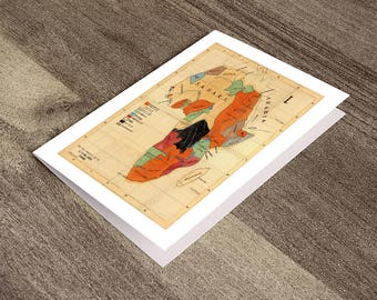 Greeting card of Map of Africa, 1908.  Reproduction map greeting card.