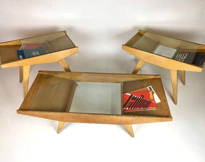 Set of 3 Mid Century Modern ATOMIC MAGAZINE RACK Coffee Table and Side Tables