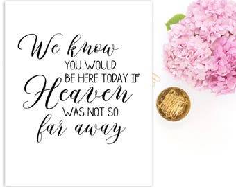 In loving memory sign We Know You Would Be Here Today If Heaven Wasn't So Far Away Wedding memorial sign Memorial sign  Wedding decor idwm45