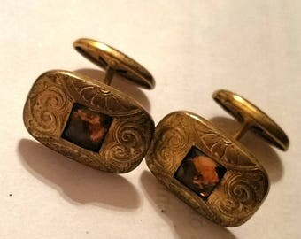 Vintage rolled gold cuff links topaz stone