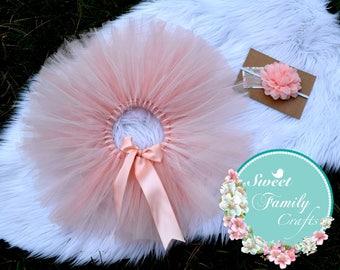 Peach Tutu, newborn Set, Newborn headband & tutu  ,Newborn Outfit, Girls Photo prop, coming home Outfit