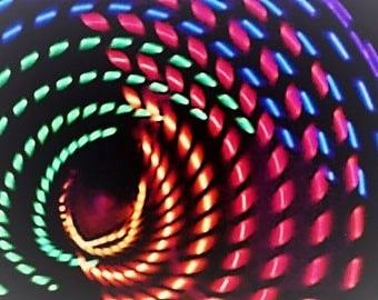 Rainbow Strobe 20 LED Hula Hoop - Rainbow Strobe LEDs - Rechargeable Li-Ion