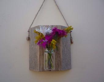 Weathered wood bud vase/ Wall mounted bud vase/ Shabby chic wall vase plaque/ Reclaimed fence rail bud vase.