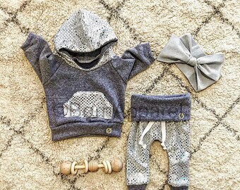 Baby girl outfit, sequins, baby girl clothes, blue, newborn girl outfit, boutique baby outfit, baby sweat set, baby girl hoodie, baby outfit