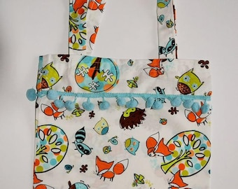 pom pom gift bags/ little girls tote bags/ fox & owl pattern/green and blue