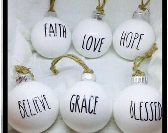 Farmhouse Christmas ornaments, farmhouse white Christmas ornaments, farmhouse Christmas ornament  Decor