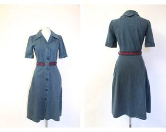 1970's Denim Shirt Dress Michael Fashion- deadstock!