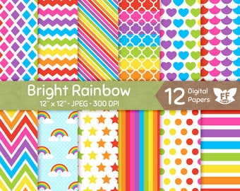 50% OFF Rainbow Digital Paper, Bright Bold Color Papers, Seamless Pattern, Colorful Tileable Background, Digital Craft, Commercial Use