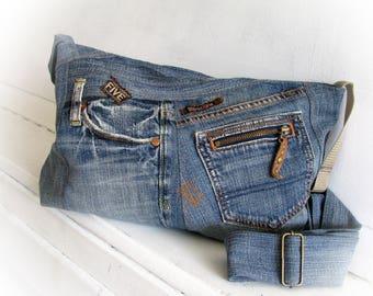 Jeans bag Denim bag Messenger bag Pathwork bag Shoulder bag Handmade bag Recycled jeans
