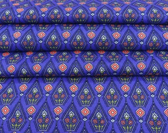 """Indian Decorative Fabric, Floral Print, Blue Fabric, Dressmaking Fabric, 60"""" Inch Cotton Fabric By The Yard ZBC8565A"""
