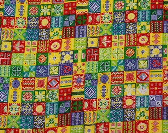 "Multicolor Fabric, Dress Material, Printed Fabric, Ethnic Fabric, Sewing Crafts, 46"" Inch Cotton Fabric By The Yard ZBC8628A"