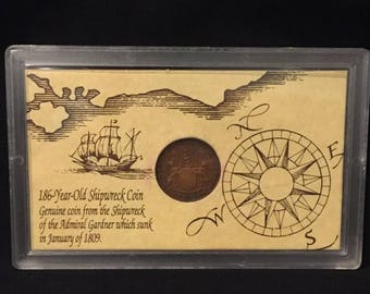 """summer17 Coin from Shipwreck of """"The Admiral Gardner"""" with COA - Ca 1808"""