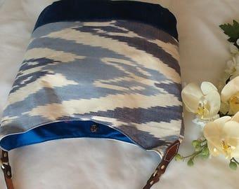 New! Blue Hobo Bag, Cotton, Canvas, Denim, Leather, Brass, Weekend Bag