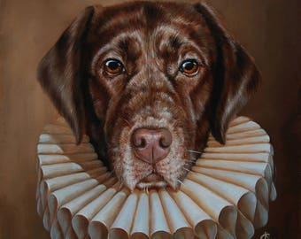 portrait of a dog. chocolate labrador.oil painting