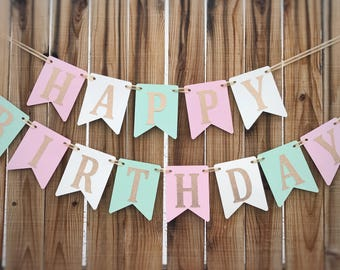 Birthday Banner, Pink and Gold Birthday, Pink and Gold Birthday Banner, 1st Birthday Banner, Pink Girl Birthday Banner