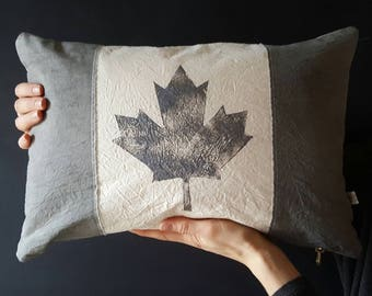 Hand-dyed Canadian flag pillow | Grey