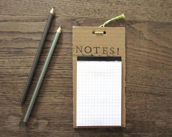 "upcycling-notepad ""Notes"" with a green-white string"