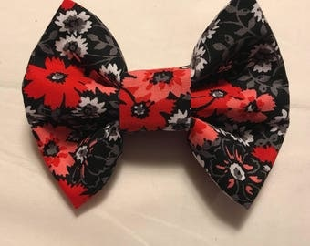 Black/Red/Pink/Gray Floral Bow