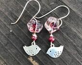 Earrings, beaded earrings, bird earrings, glass earrings, Sterling earrings, sterling bird earrings, dangle earrings