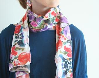 Long cotton scarf with original watercolor artwork, 40x160 cm