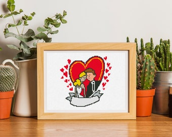 Bride and Groom wedding cross stitch pattern,Instant download #25