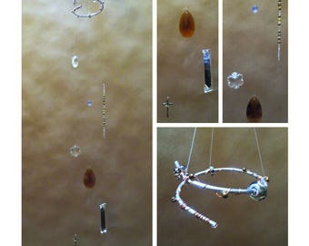 """Handmade CRYSTAL MOBILE ~ """"Window Jewelry"""" ~ 34"""" Clear & Amber Crystal Pendants with Crucifix"""