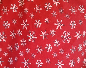 Snowflake - Red, Cotton Lycra Jersey Knit Fabric