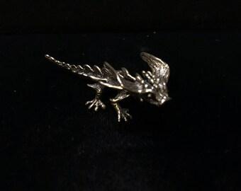 Original silicon bronze baby stealth dragon sculpture by Daniel J. Riccio
