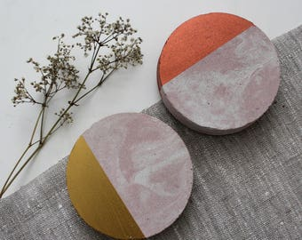 Pink Marble Concrete Round Coasters Copper Gold