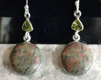 Unakite & Peridot Earrings