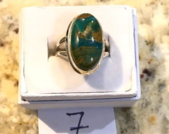Genuine Peruvian Blue Opal  Ring, Size 7