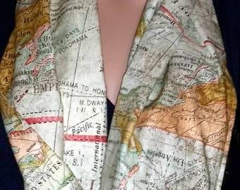 Ladies Scarves Infinity Scarf Single Loop World Map Scarves for Women Cotton Infinity Scarves