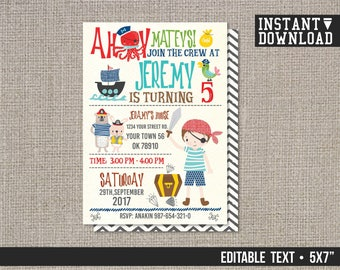 Pirate invitation Pirate Birthday Invitation Boys Party invitations Pirate Ship - EDITABLE TEXT - Instant Download