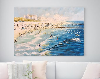 "Large Original Oil Painting, Seascape painting, Ocean painting, Blue, Beach scene, Wall Art, Canvas Art, Abstract, Summer Sunny 33"" X 49"""