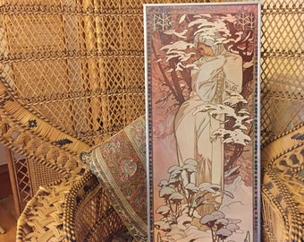 Vintage Mucha Winter print, 1970's art print on board, Alphonse Mucha, Art Nouveau print