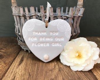 Personalised flower girl gift, flower girl present, flower girl heart, thank you flower girl, flower girl wedding, lace flower girl