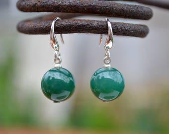 Green agate earrings, Agate earrings, Green agate earrings silver, Silver earrings agate, Agate drop earrings, Earrings green agate.
