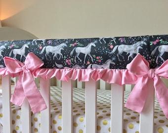 Unicorn Crib Rail Guard, Mommy and Me Unicorn Baby Bedding, Bumperless Baby Bedding, Baby Girl Unicorn Crib Bedding