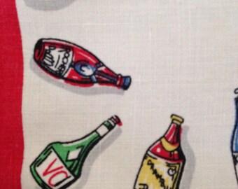 Napkins x 4/ white and red / cotton / vintage / retro / kitsch / liqueurs