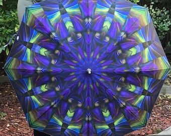 Festival Umbrella, Large Umbrella, Trippy Umbrella, Mandala Umbrella, Parasol, Rain Umbrella, Beach Umbrella, Purple and green Umbrella