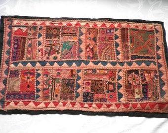 Vintage Indian Decorative Patchwork Wall Panel / Hanging 1970s  Ethnic Rajastan