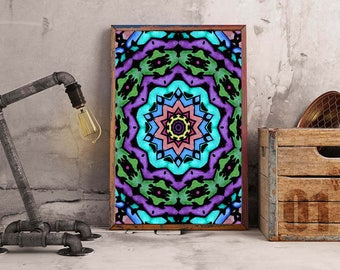 Kaleidoscope Butterfly Stained Glass Print
