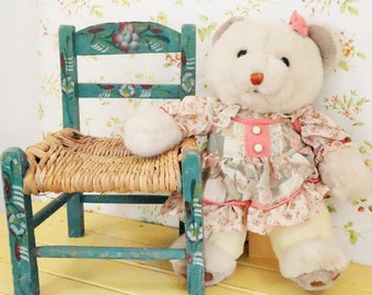 Wooden Chair/Child's Wooden Chair/Large Doll Chair/Kid's Chair/Vintage Wooden Chair/Hand Painted Chair/Wooden Doll Chair/Folk Art/Mexico