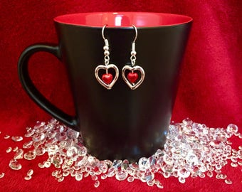Silver and red heart dangle earrings