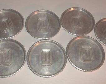 Vintage Hand Forged by Everlast Metals Set of 7 Coasters Trinket Monogrammed I