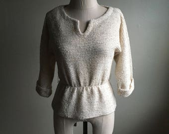 vintage 70s nubby knit peplum peasant blouse sweater